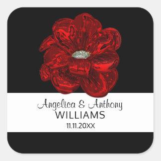 Sticker Carré Joints élégants de mariage de fleur de rose blanc,
