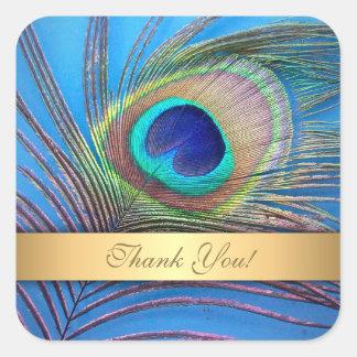 Sticker Carré Joli Merci de plume de paon