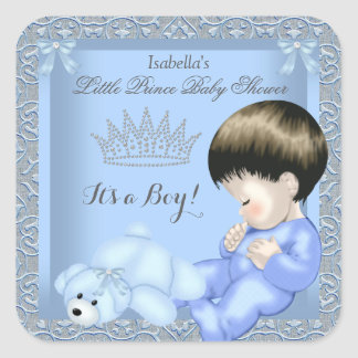 Sticker Carré Jouet bleu 4 de damassé de petit garçon de prince