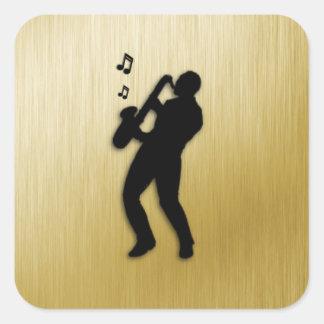 Sticker Carré Joueur de saxophone d'or