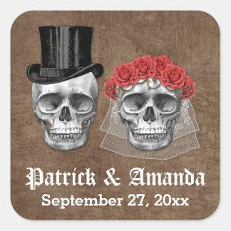 Sticker Carré Jour de la faveur morte de mariage de couples de