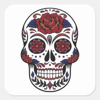 Sticker Carré Jour du crâne mort Bourgogne et de bleu sur le
