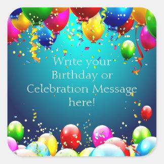 Sticker Carré Joyeux anniversaire - ballons colorés par bleu -