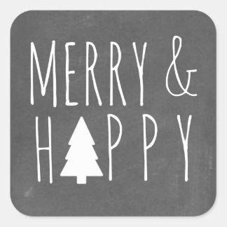 Sticker Carré Joyeux et heureux arbre de Noël de tableau