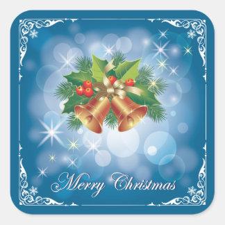 Sticker Carré Joyeux Noël assez bleu et blanc