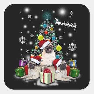 Sticker Carré Joyeux Noël avec l'animal de chien de carlin