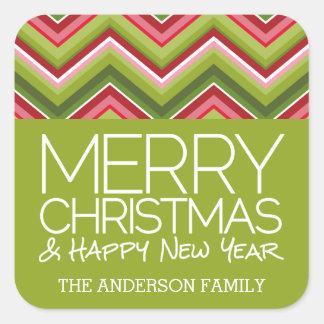 Sticker Carré Joyeux Noël et HNY - chevrons lumineux faits sur