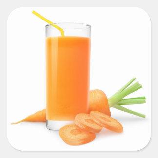Sticker Carré Jus de carotte dans un verre