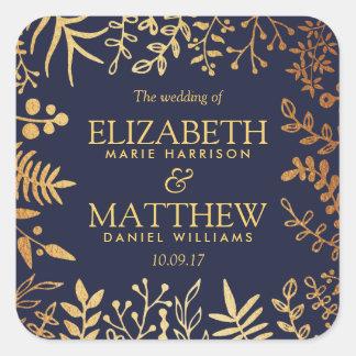 Sticker Carré La collection florale élégante de mariage de