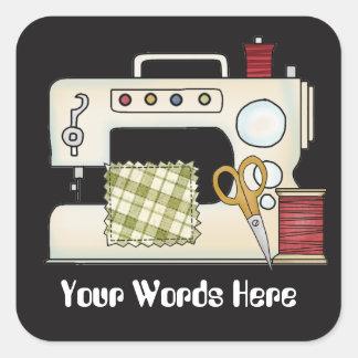 Sticker Carré La machine à coudre ajoutent des mots ouvrant