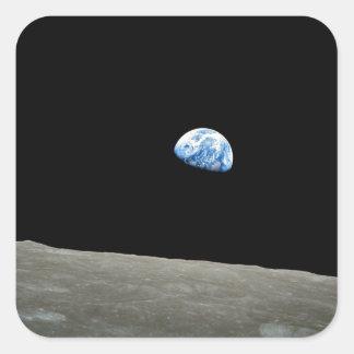 Sticker Carré la terre de l'univers de l'espace de lune