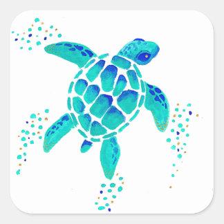 Sticker Carré La tortue de Neptune