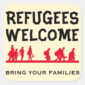 Sticker Carré L'accueil de réfugiés amènent votre famille