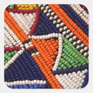 Sticker Carré L'Afrique, Kenya. Perles de tribal de Maasai
