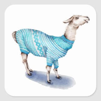 Sticker Carré Lama d'aquarelle dans le chandail bleu