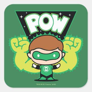 Sticker Carré Lanterne verte de Chibi formant les poings géants