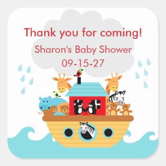 Sticker Carré Le baby shower de l'arche de Noé vous remercient