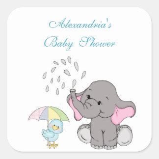 Sticker Carré Le baby shower, éléphant mignon arrosent, coutume