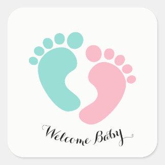 Sticker Carré Le bébé minuscule d'empreintes de pas de BÉBÉ et