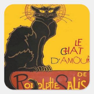 Sticker Carré Le Chat D'Amour avec la frontière colorée ethnique