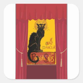 Sticker Carré Le Chat D'Amour avec la frontière théâtrale de