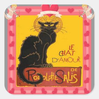 Sticker Carré Le Chat D'Amour avec le coeur et la frontière