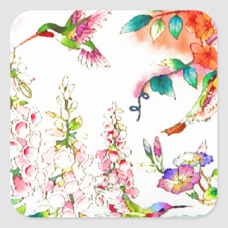 Sticker Carré Le colibri fleurit le paysage