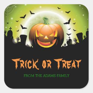 Sticker Carré Le des bonbons ou un sort de Halloween marque le