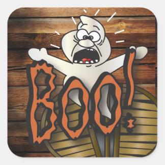 Sticker Carré Le hurlement effrayant de fantôme de Halloween