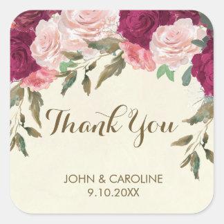 Sticker Carré le mariage floral rose de Bourgogne vous