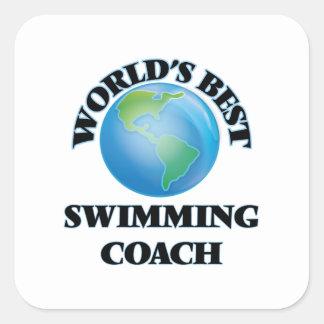 Sticker Carré Le meilleur entraîneur de la natation du monde