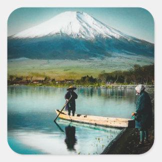 Sticker Carré Le mont Fuji du cru de 富士 de Yamanaka de lac