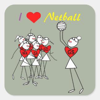 Sticker Carré Le net-ball d'amour place des chiffres de bâton