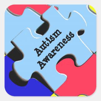 Sticker Carré Le puzzle de sensibilisation sur l'autisme rapièce