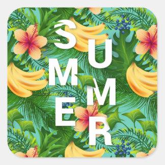 Sticker Carré Le texte tropical d'été sur la banane fleurit