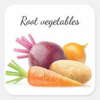 Sticker Carré Légumes à racine