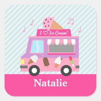 Sticker Carré Les filles roses de camion de crème glacée ont