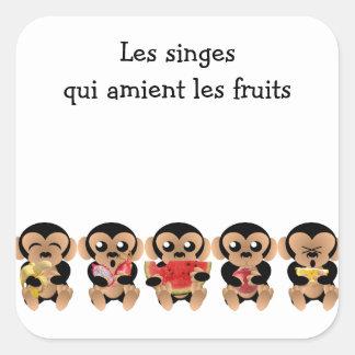Sticker Carré Les singes qui aiment les fruits