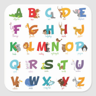 Sticker Carré Lettres animales illustrées colorées d'alphabet