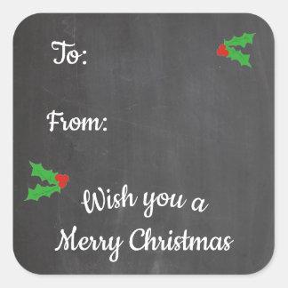 Sticker Carré Lettres de tableau de houx de Noël