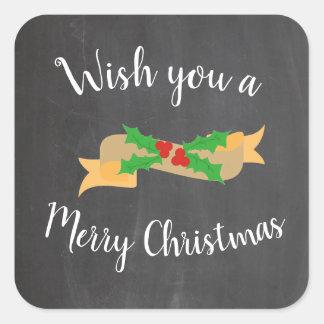 Sticker Carré Lettres de tableau de Joyeux Noël
