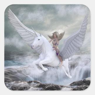Sticker Carré Licorne et femme mystiques magiques de conte de