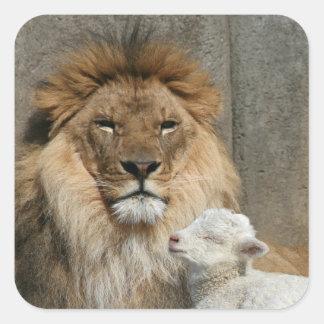 Sticker Carré Lion et agneau paisibles