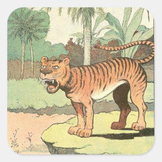 Sticker Carré Livre de contes de tigre