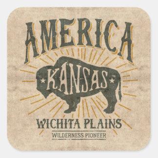 Sticker Carré Logo americana vintage de bison de Wichita le