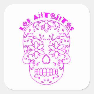 Sticker Carré Logo rose de crâne de sucre