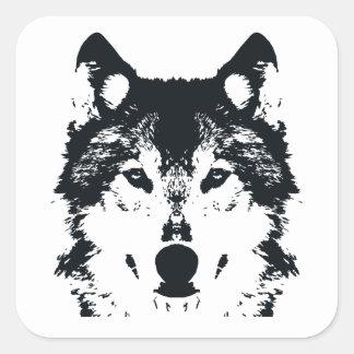 Sticker Carré Loup noir d'illustration