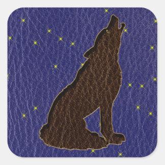 Sticker Carré Loup simili cuir de zodiaque de Natif américain