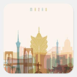 Sticker Carré Macao, horizon de ville de la Chine |