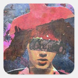 Sticker Carré Madame de casquette d'abat-jour